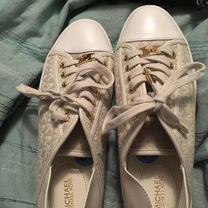 Tan/White MK canvas tennis shoes